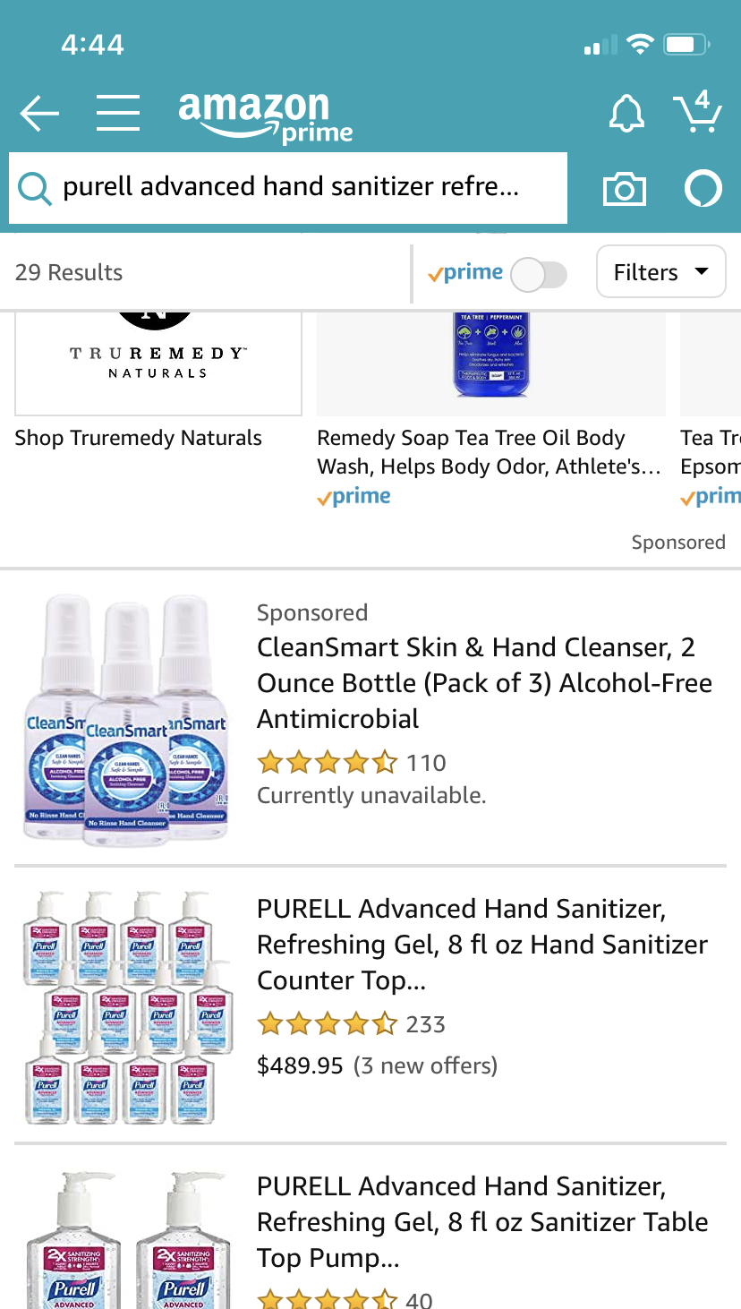hand sanitizer shortage